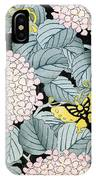 Vintage Japanese Illustration Of A Hydrangea Blossoms And Butterflies IPhone Case