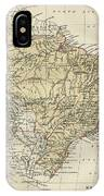 Vintage Map Of Brazil - 1889 IPhone Case