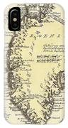 Vintage Map Of Greenland - 1791 IPhone Case