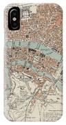 Vintage Map Of Lyon France - 1888 IPhone Case