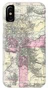 Vintage Map Of Montana, Wyoming And Idaho  IPhone Case