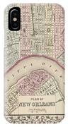Vintage Map Of New Orleans - 1880 IPhone Case
