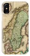 Vintage Map Of Norway And Sweden - 1831 IPhone Case