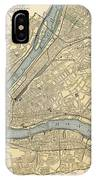 Vintage Map Of Pittsburgh Pa - 1891 IPhone Case