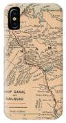Vintage Map Of The Panama Canal - 1885 IPhone Case