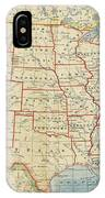 Vintage Map Of United States, 1883 IPhone Case