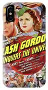 Vintage Movie Posters, Flash Godon Conquers The Universe IPhone Case