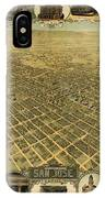 Vintage Pictorial Map Of San Jose Ca - 1901 IPhone Case