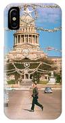 Vintage View Of The Texas State Capitol And Christmas Decorations Strung Along Congress Avenue From December 1960 IPhone Case