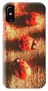 Vintage Wooden Ladybugs IPhone Case