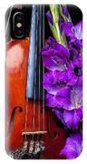 Violin And Purple Glads IPhone Case