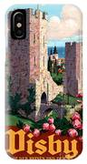 Visby Vintage Travel Poster Restored IPhone Case