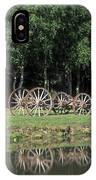 Wagon Wheels Reflecting In A Pond IPhone Case