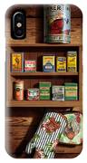 Wall Spice Rack - Americana Kitchen Art Decor - Vintage Spice Cans Tins - Nostalgic Spice Rack IPhone X Case