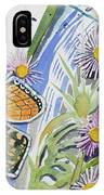 Watercolor - Checkerspot Butterfly With Wildflowers IPhone Case by Cascade Colors