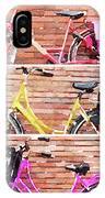 Watercolor Collage Of Three Bicycles In Triptych IPhone Case