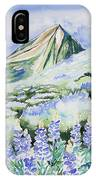 Watercolor - Crested Butte Lupine Landscape IPhone Case by Cascade Colors