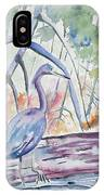 Watercolor - Little Blue Heron In Mangrove Forest IPhone Case