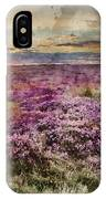 Watercolor Painting Of Beautiful Dawn Sunrise Landscape Image Of Heather On Higger Tor In Summer In  IPhone Case