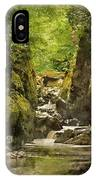 Watercolor Painting Of Beautiful Ethereal Landscape Of Deep Sided Gorge With Rock Walls And Stream F IPhone Case