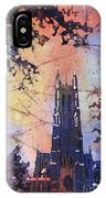 Watercolor Painting Of Duke Chapel On The Duke University Campus IPhone Case