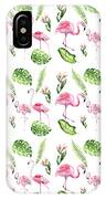Watercolour Tropical Beauty Flamingo Family IPhone X Case