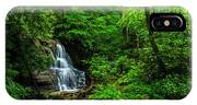 Waterfall And Rhododendron In Bloom IPhone Case