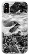 Waves Against A Rocky Shore In Bw IPhone Case by Doug Camara
