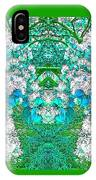 Waxleaf Privet Blooms In Aqua Hue Abstract With Green Frame IPhone Case