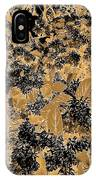 Waxleaf Privet Blooms On A Sunny Day In Black And White - Color Invert With Golden Tones IPhone Case