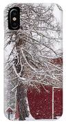 Wayside Inn Red Barn Covered In Snow Storm Reflection IPhone Case