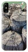 Weathered Wood Pier Posts In Lake Michigan IPhone Case