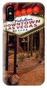 R.i.p. Welcome To Downtown Las Vegas Sign At Night IPhone Case