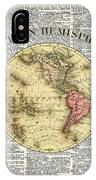 Western Hemisphere Earth Map  IPhone Case by Anna W