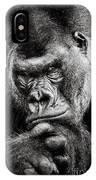 Western Lowland Gorilla Bw II IPhone Case