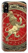 Western Zodiac - Golden Leo - The Lion On Black Velvet IPhone Case