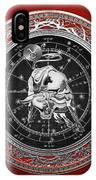 Western Zodiac - Silver Taurus - The Bull On Red Velvet IPhone Case