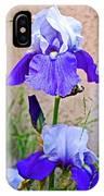 White And Purple Irises At Pilgrim Place In Claremont-california- IPhone Case
