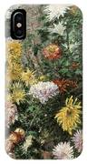 White And Yellow Chrysanthemums In The Garden At Petit Gennevilliers IPhone Case