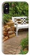 White Bench In The Garden IPhone Case