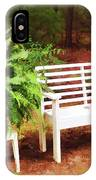 White Bench Sitting In A Beautiful Garden 2 IPhone Case