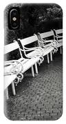 White Benches-  By Linda Wood Woods IPhone Case
