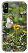 White Butterfly On Golden Daisy IPhone Case
