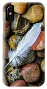 White Feather On River Stones IPhone Case