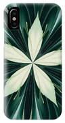 White Leaves In A Green Forest Kaleidoscope IPhone Case