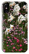 White Narcissus With Pink English Daisies In A Spring Garden IPhone Case