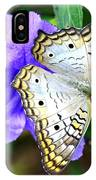 White Peacock Butterfly On Purple 2 IPhone Case