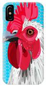 White Rooster With Blue Background IPhone Case
