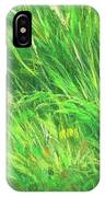 Wild Meadow Grass Structure In Bright Green Tones, Painting Detail. IPhone Case