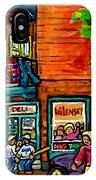 Wilensky Diner Little League Expo Kids Baseball Painting Montreal Scene Canadian Art Carole Spandau  IPhone Case
